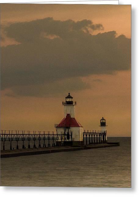 Saint Joseph Greeting Cards - St Joseph Michigan Lighthouse 2 Greeting Card by John Ullrick