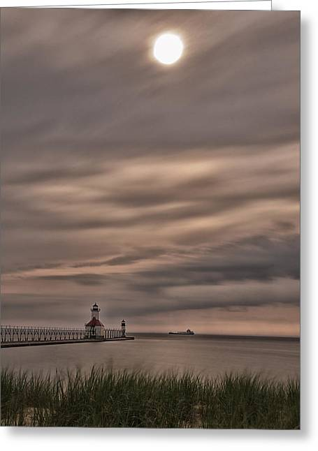 Saint Joseph Greeting Cards - St. Joseph Michigan Lighthouse 3 Greeting Card by John Ullrick