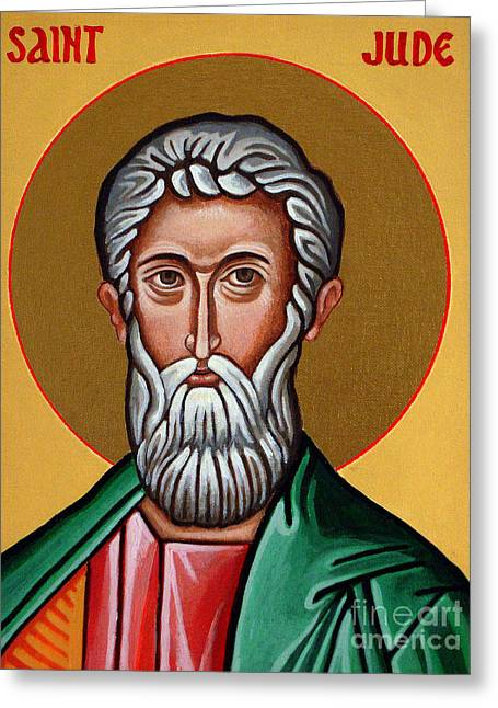 Religious Paintings Greeting Cards - St. Jude Greeting Card by Darrell Ross
