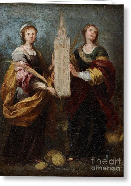 Bartolome Esteban Murillo Greeting Cards - St. Justa and St. Rufina Greeting Card by Celestial Images