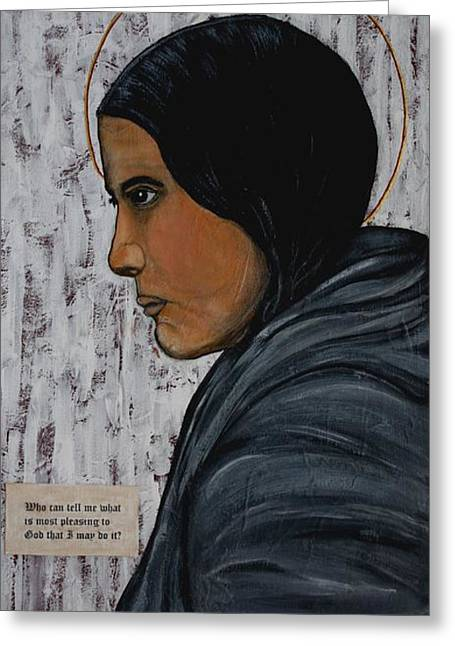 Portraits Of The Pope Greeting Cards - St. Kateri Tekakwitha Greeting Card by Ralph LeCompte