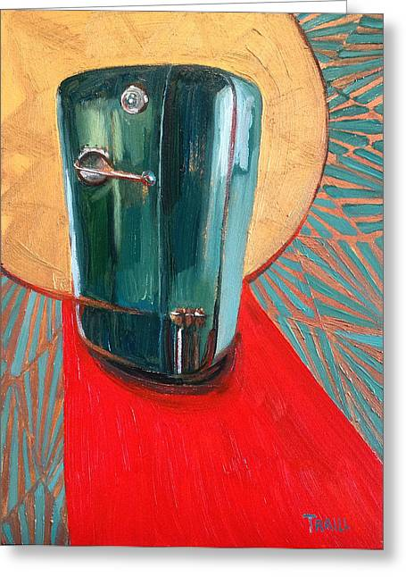 """red Carpet"" Greeting Cards - St. Kelvinator Greeting Card by Jennie Traill Schaeffer"