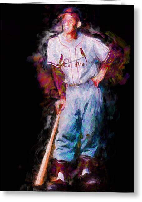 Nba Champs Greeting Cards - St. Louis Cardinal Stan Musial Portrait Busch Stadium Greeting Card by David Haskett
