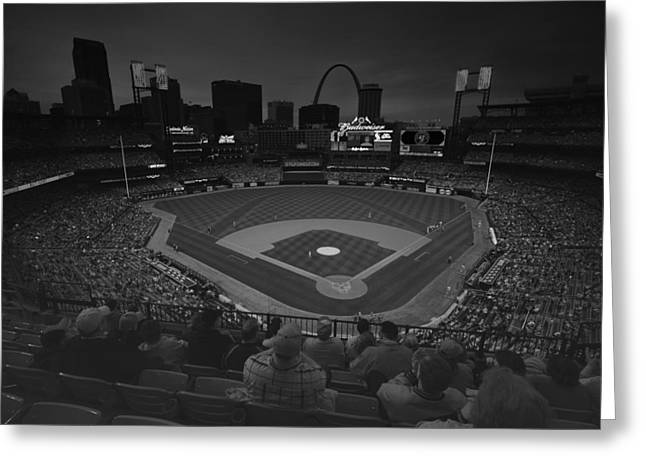 Boys Of Summer Greeting Cards - St. Louis Cardinals Busch Stadium Black White Creative 11 Greeting Card by David Haskett
