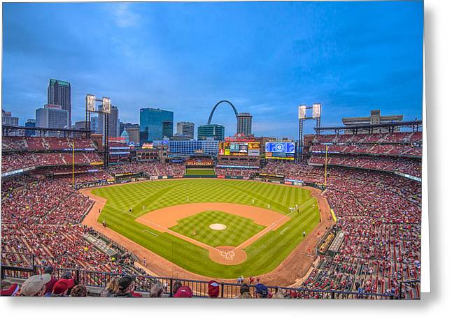Baseball Stadiums Greeting Cards - St. Louis Cardinals Busch Stadium Creative Blue Greeting Card by David Haskett