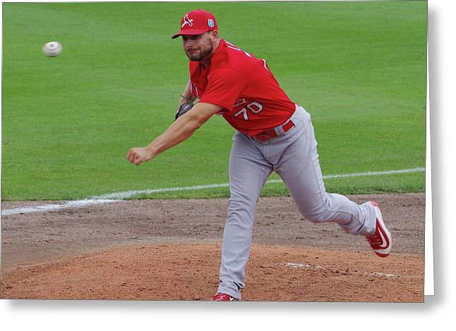 St Louis Cardinals Tyler Lyons Greeting Card by Bruce Roker