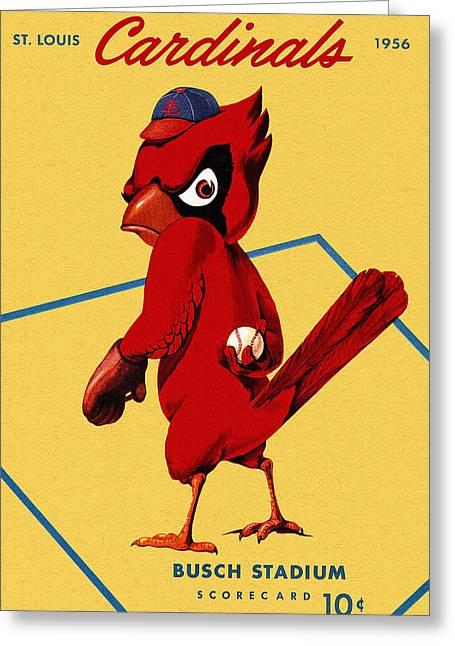 St. Louis Cardinal Baseball Greeting Cards - St. Louis Cardinals Vintage 1956 Program Greeting Card by Big 88 Artworks
