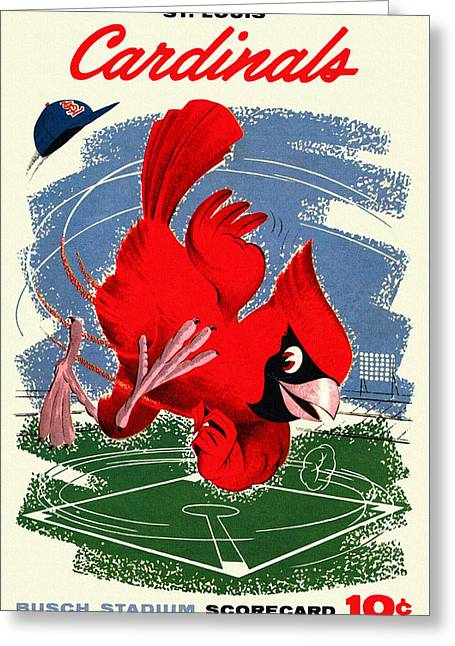 National League Paintings Greeting Cards - St. Louis Cardinals Vintage 1958 Scorecard Greeting Card by Big 88 Artworks