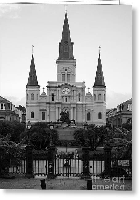 Recently Sold -  - Statue Portrait Greeting Cards - St Louis Cathedral on Jackson Square in the French Quarter New Orleans Black and White Greeting Card by Shawn O