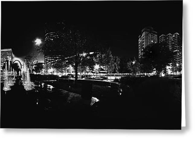 St. Louis City Garden Night Bw For Glass Greeting Card by David Coblitz