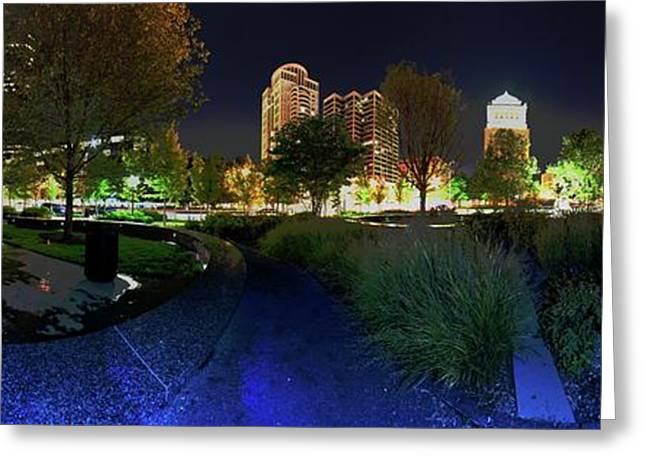 St. Louis City Garden Night Panorama Greeting Card by David Coblitz