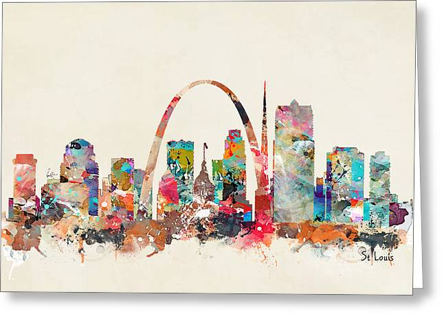 Landscape Posters Greeting Cards - St Louis Missouri Skyline Greeting Card by Bri Buckley