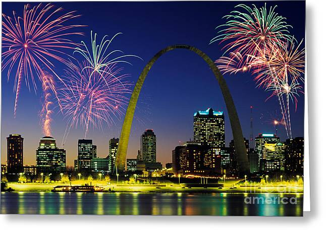 Festivities Greeting Cards - St. Louis Skyline Greeting Card by David Davis