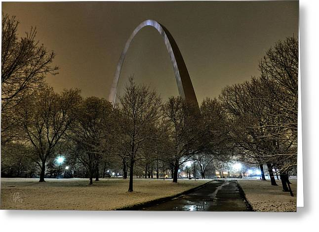 Jefferson National Expansion Memorial Greeting Cards - St. Louis - Winter at the Arch 002 Greeting Card by Lance Vaughn