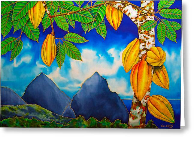 Silk Art Tapestries - Textiles Greeting Cards - St. Lucia Cocoa Greeting Card by Daniel Jean-Baptiste