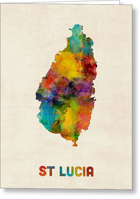 St Lucia Watercolor Map Greeting Card by Michael Tompsett