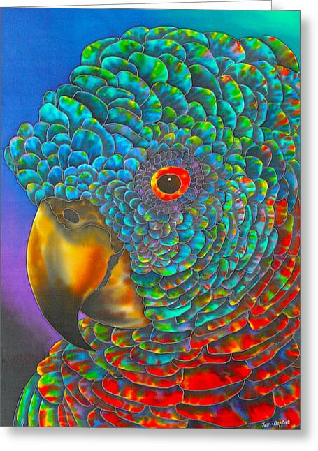 Silk Art Tapestries - Textiles Greeting Cards - St. Lucian Parrot Greeting Card by Daniel Jean-Baptiste