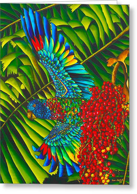 Silk Art Tapestries - Textiles Greeting Cards - St. Lucias Bird of Paradise Greeting Card by Daniel Jean-Baptiste