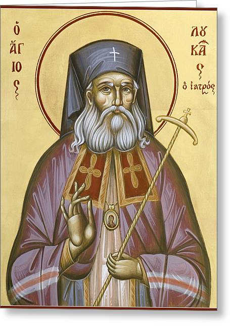 Icon Byzantine Greeting Cards - St Luke the Surgeon of Simferopol Greeting Card by Julia Bridget Hayes