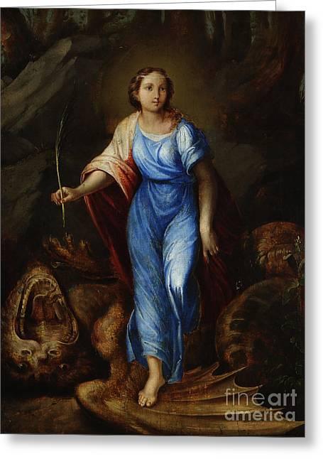 St Margaret Paintings Greeting Cards - St. Margaret Slaying The Dragon Greeting Card by MotionAge Designs