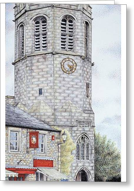 Blue And Green Drawings Greeting Cards - St Margarets Church Clock  Hornby  Lancashire Greeting Card by Sandra Moore