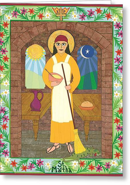 Religious Mixed Media Greeting Cards - St. Martha Icon Greeting Card by David Raber