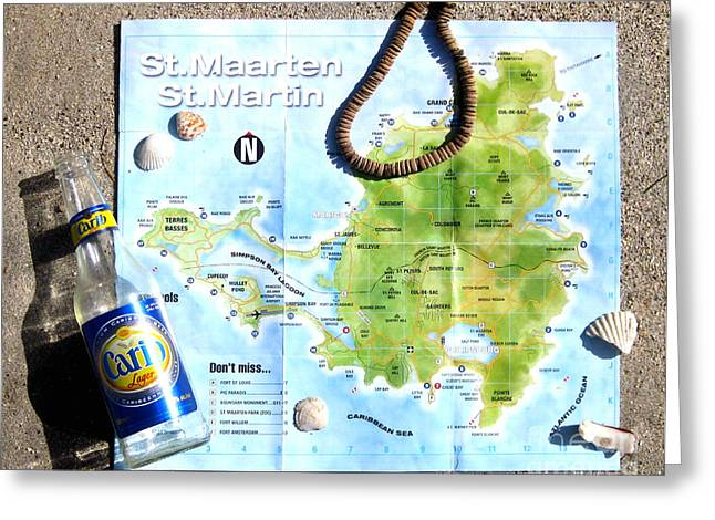 Jerome Stumphauzer Greeting Cards - St. Martin St. Maarten Map Greeting Card by Jerome Stumphauzer