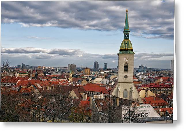 St Martin's Cathedral And Bratislava Greeting Card by Joan Carroll