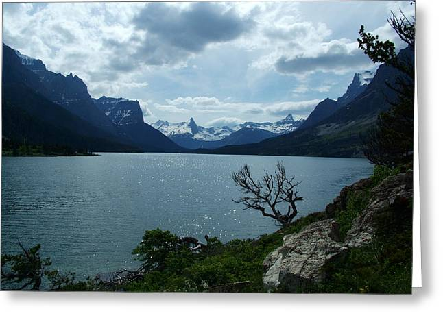 Snow Capped Greeting Cards - St Mary Lake Glacier National Park Greeting Card by Tracey Vivar