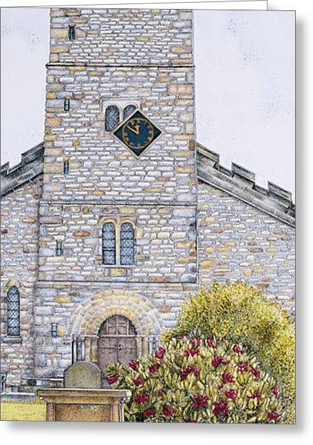Rural Church Greeting Cards - St Marys Church Clock  Kirkby Lonsdale  Cumbria Greeting Card by Sandra Moore