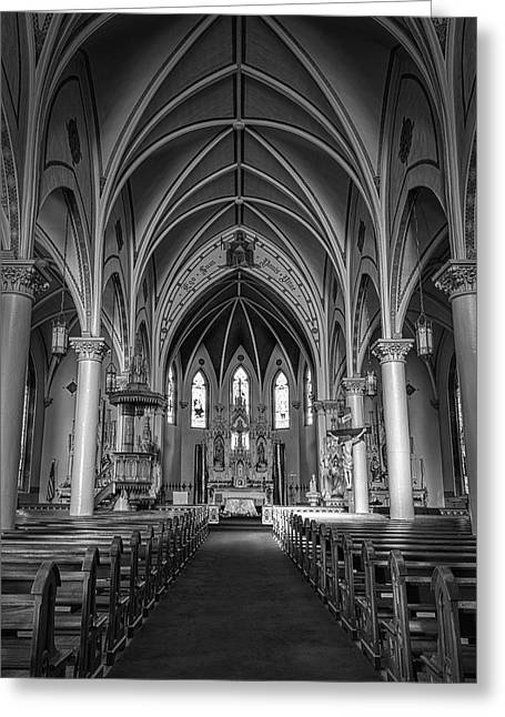 St Mary's Painted Church Bw Greeting Card by Joan Carroll