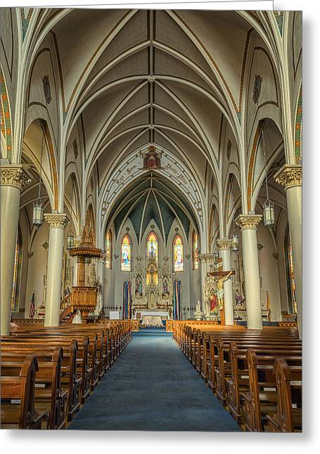 St Mary's Painted Church Greeting Card by Joan Carroll