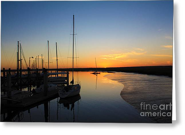 Boats At Dock Greeting Cards - St. Marys Sunset Greeting Card by M J Glisson