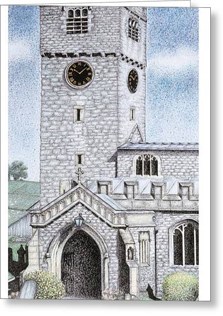 Vertical Drawings Greeting Cards - St Michael and All Angels Church Clock  Beetham Cumbria  Greeting Card by Sandra Moore