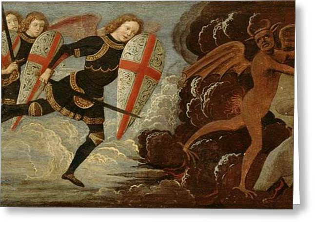 Sword Greeting Cards - St. Michael and the Angels at War with the Devil Greeting Card by Domenico Ghirlandaio