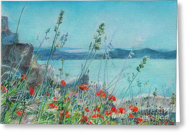 Ruins Pastels Greeting Cards - St. Michael Croatia Greeting Card by Radchenko Julia