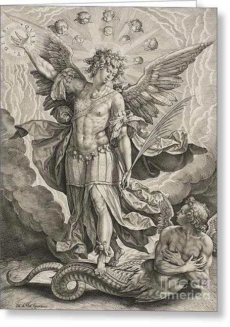 St Michael Triumphing Over The Dragon Greeting Card by Hieronymus or Jerome Wierix
