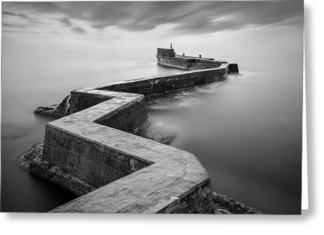 St Monans Breakwater Greeting Card by Dave Bowman
