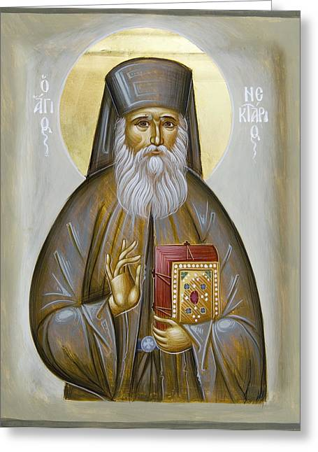 Icon Byzantine Paintings Greeting Cards - St Nektarios of Aigina Greeting Card by Julia Bridget Hayes