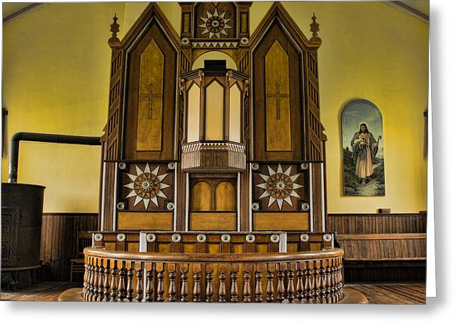 Proclamation Greeting Cards - St Olafs Kirke Pulpit Greeting Card by Stephen Stookey