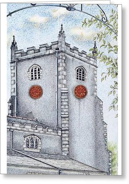 Blue And Green Drawings Greeting Cards - St Oswalds Church Clock Greeting Card by Sandra Moore
