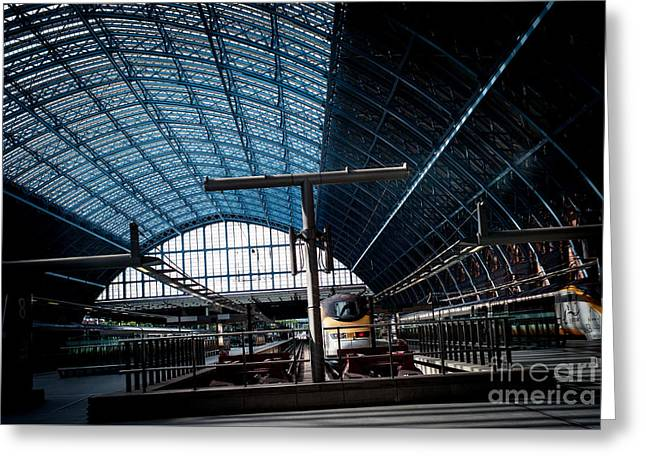 People Pyrography Greeting Cards - St. Pancras International London  Greeting Card by Cyril Jayant
