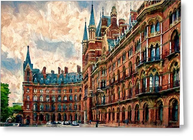 Underground Railroad Digital Art Greeting Cards - St Pancras Renaissance London Hotel Greeting Card by John K Woodruff