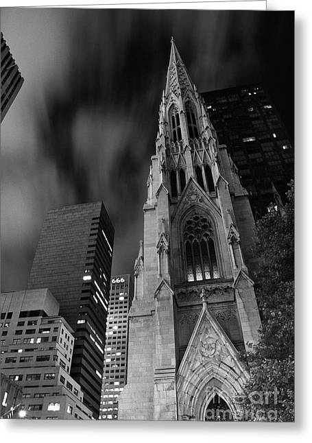 Night Photography Greeting Cards - St Patricks Cathedral Greeting Card by Keith Kapple
