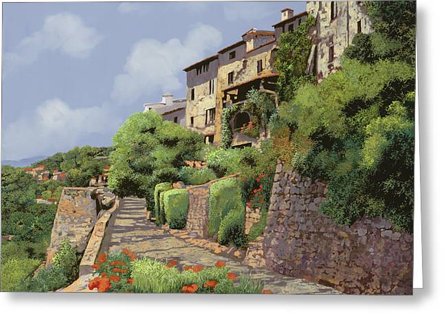 Art Galleries Greeting Cards - St Paul de Vence Greeting Card by Guido Borelli