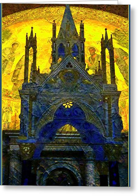 Byzantine Greeting Cards - St. Pauls Basilica in Rome Greeting Card by Mindy Newman