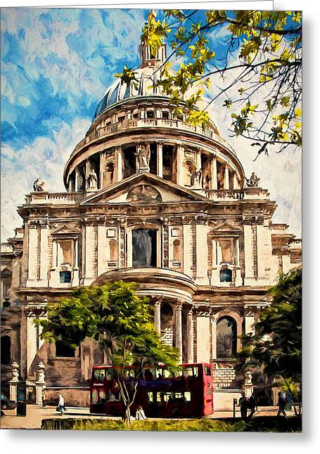 St Paul's Cathederal Greeting Card by John K Woodruff