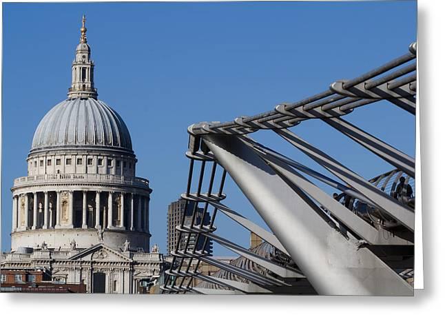 St Pauls Cathedral And The Millenium Bridge  Greeting Card by David Pyatt