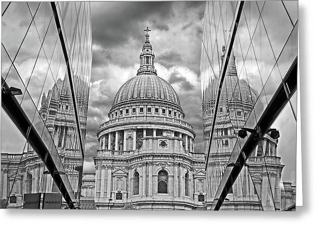 Old Home Place Greeting Cards - St Pauls Cathedral Reflections - Black and White Greeting Card by Gill Billington
