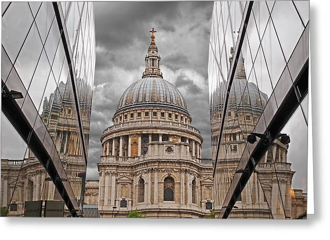 Old Home Place Greeting Cards - St Pauls Cathedral Reflections Greeting Card by Gill Billington